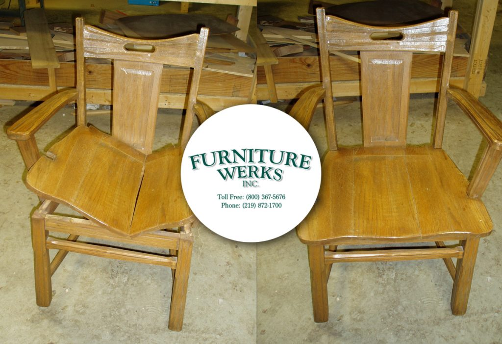A split seat threatened to reduce a set of eight chairs to a set of seven.