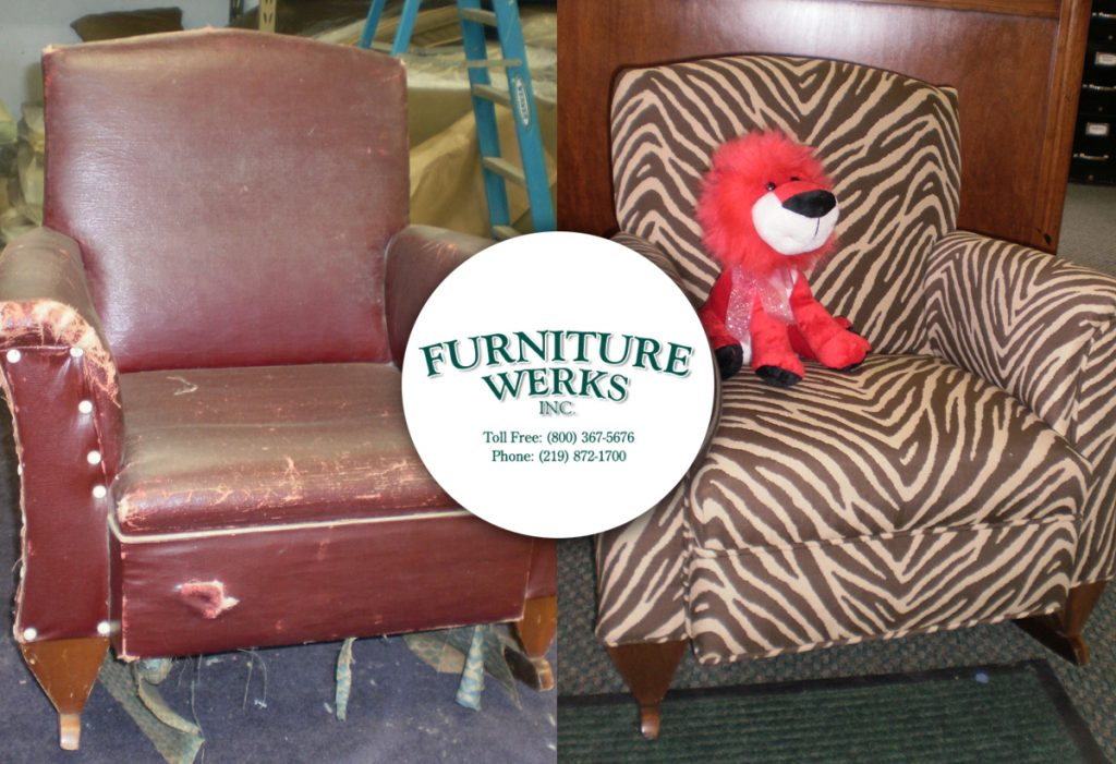 The wood rockers were refinished to compliment the new fabric.