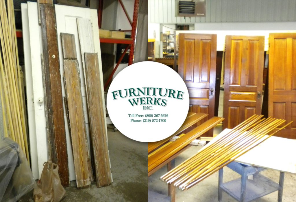 As requested, the pieces were stained to match the original color and finished with multiple coats of gloss lacquer.  Quite a time saver as they restore their house!